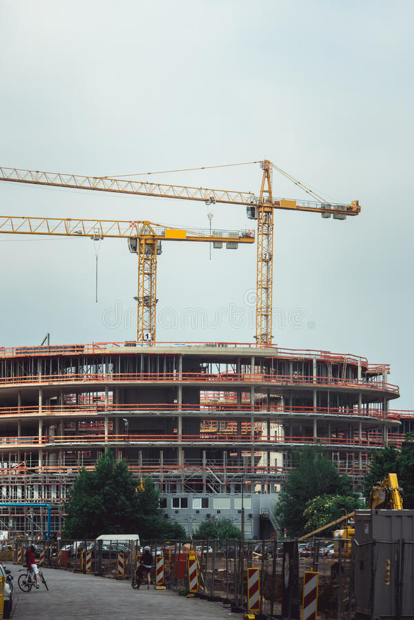 Steel Frames Of A Building Under Construction, With Two Tower Cranes ...