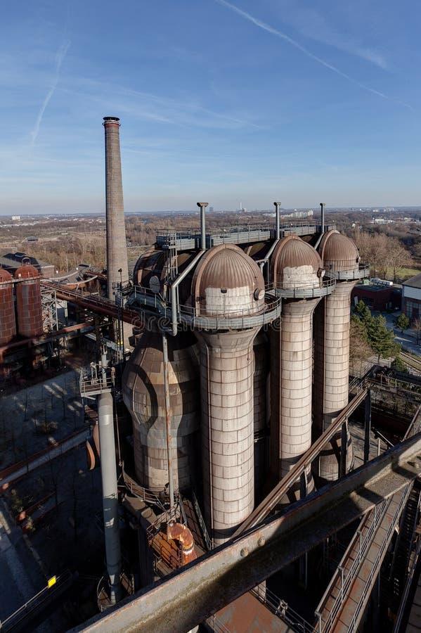 Steel furnaces Landschaftspark, Duisburg, Germany stock photo