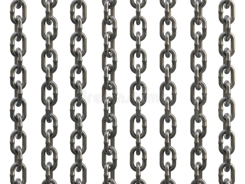 Steel galvanized chain isolated on white background. 3D Illustration royalty free illustration