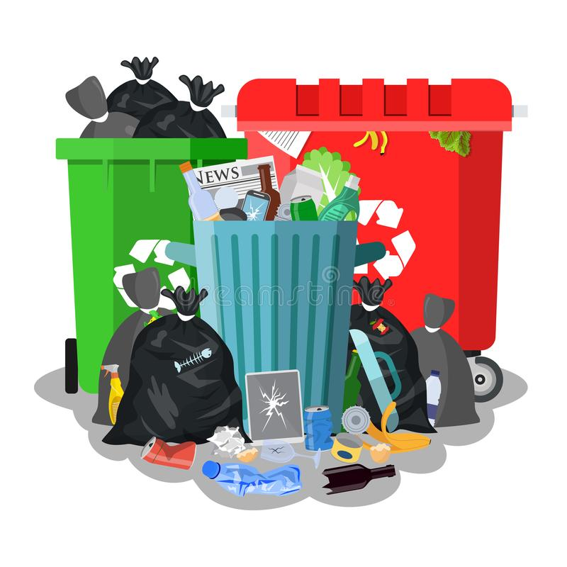 Steel garbage bin full of trash. Overflowing garbage, food, rotten fruit, papers,containers and glass. Garbage recycling and utilization equipment. Vector stock illustration