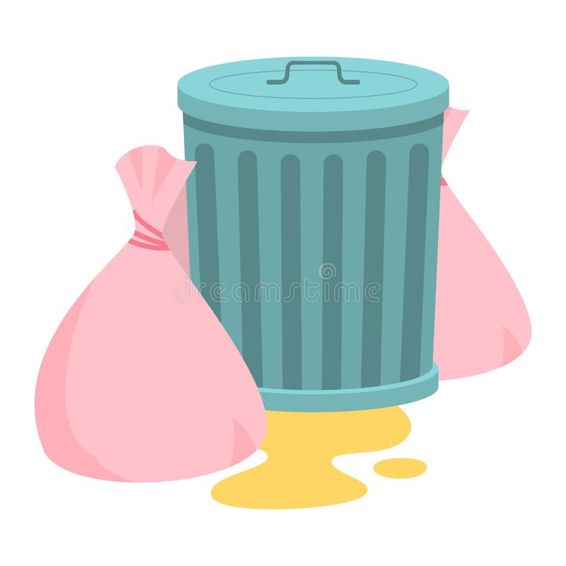 Steel garbage container with trash bags. Raster illustration in flat cartoon style on white background stock illustration