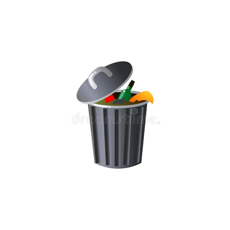 Steel garbage container with trash. Raster illustration in flat cartoon style on white background. Steel garbage container with trash. The scene with a pile of royalty free illustration