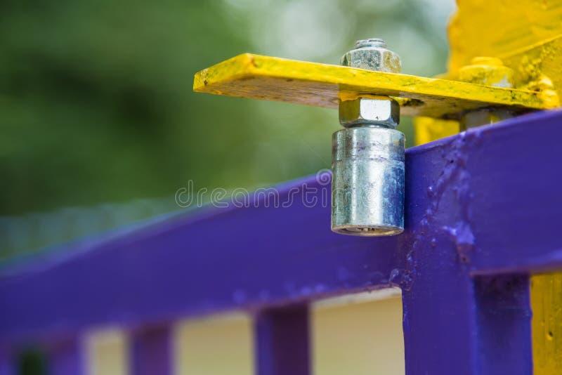 Steel gate slide, Slide rail of door stock image