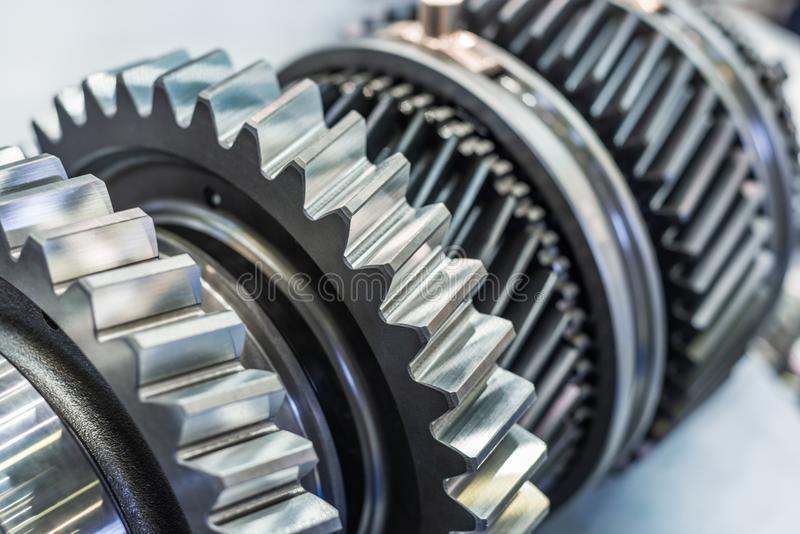 Steel gears and rolling bearing. Gear. Abstract industrial background stock images