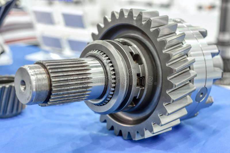 Steel gears and rolling bearing. Gear. Abstract industrial background royalty free stock photos