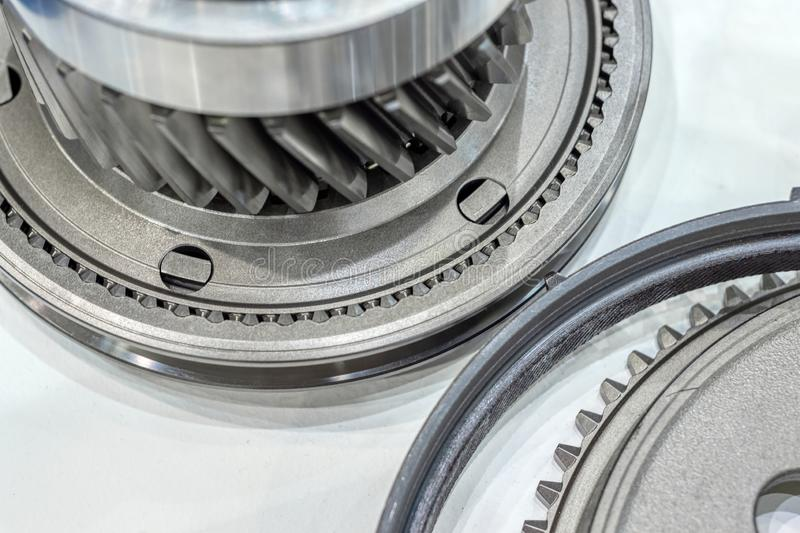 Steel gears and rolling bearing. Gear. Abstract industrial background royalty free stock image