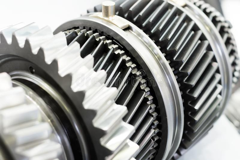 Steel gears and rolling bearing. Gear. Abstract industrial background royalty free stock images