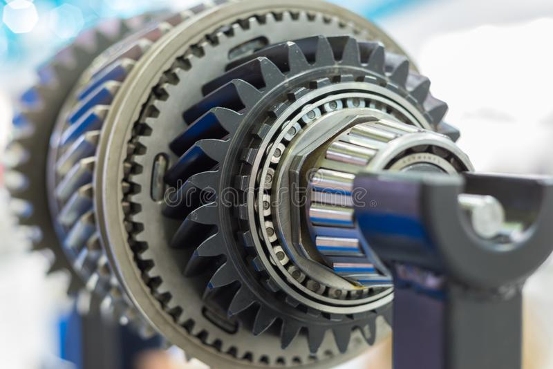 Steel gears and rolling bearing. Gear. Abstract industrial background royalty free stock photography