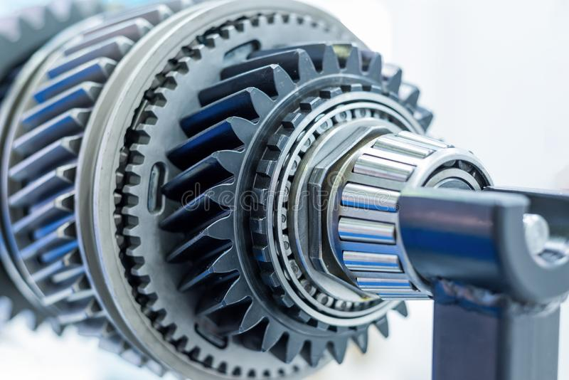 Steel gears and rolling bearing. Gear. Abstract industrial background royalty free stock photo