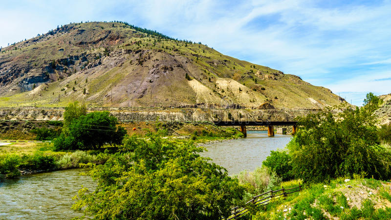 Steel Girder Railway Bridge over the Nicola River. Where it flows into the Thompson River at Spences Bridge in British Columbia stock photography