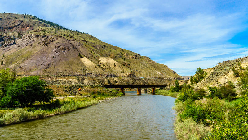 Steel Girder Railway Bridge over the Nicola River. Where it flows into the Thompson River at Spences Bridge in British Columbia stock image