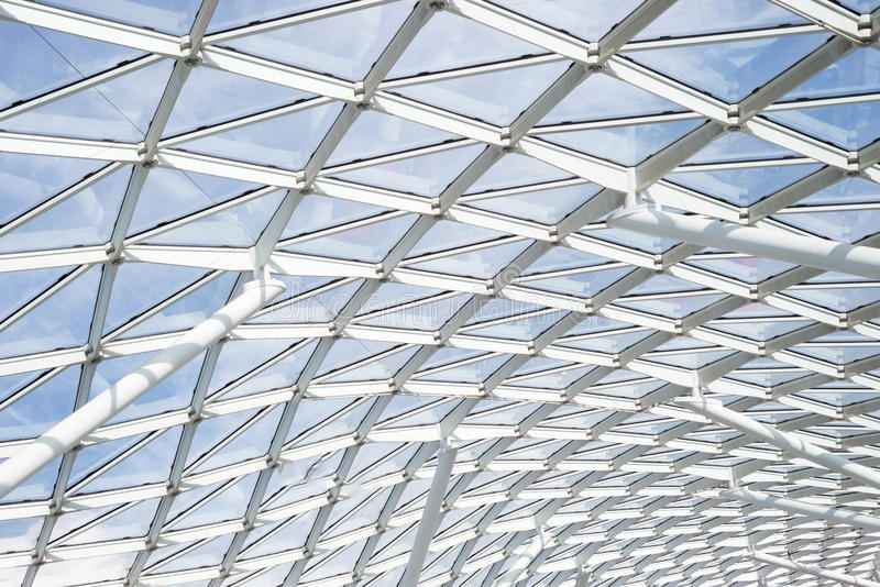 Steel glass roof ceiling wall construction transparent window stock photography
