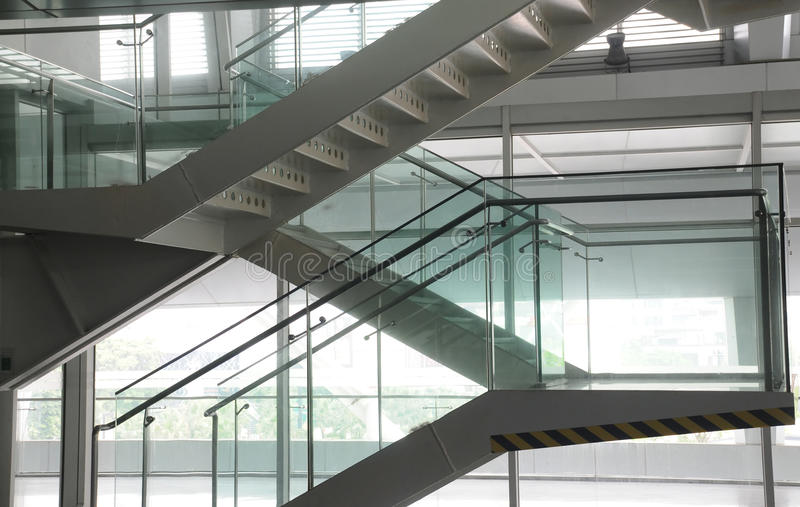Steel and glass staircase royalty free stock photo