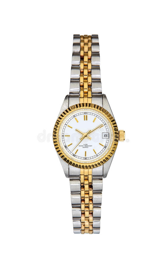 Steel - gold wrist watch isolated on white with clipping path. Steel - gold wrist watch isolated on white background with clipping path royalty free stock image