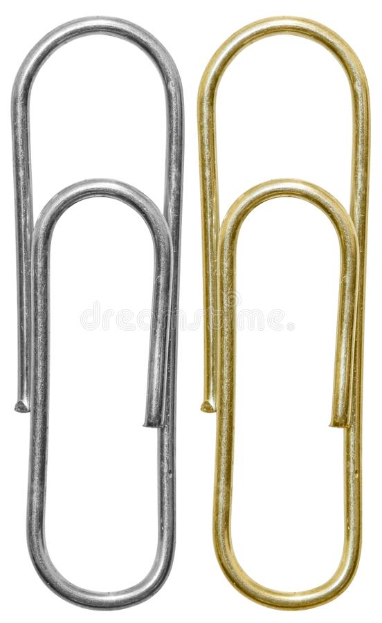 Steel and golden paper clips stock photography