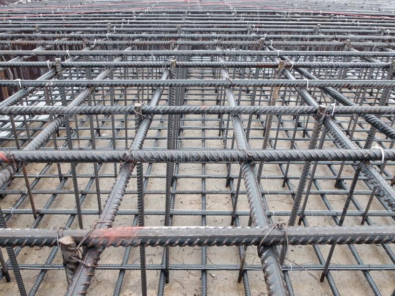 Steel grid of residential building footing reinforcement.  stock photos
