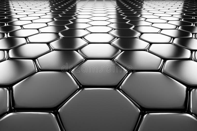 Steel Hexagons Flooring Perspective View Stock