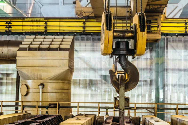 Steel hook of overhead crane royalty free stock images