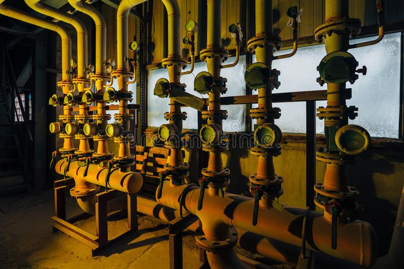 Steel industrial pipeline with valves and manometers.  stock images