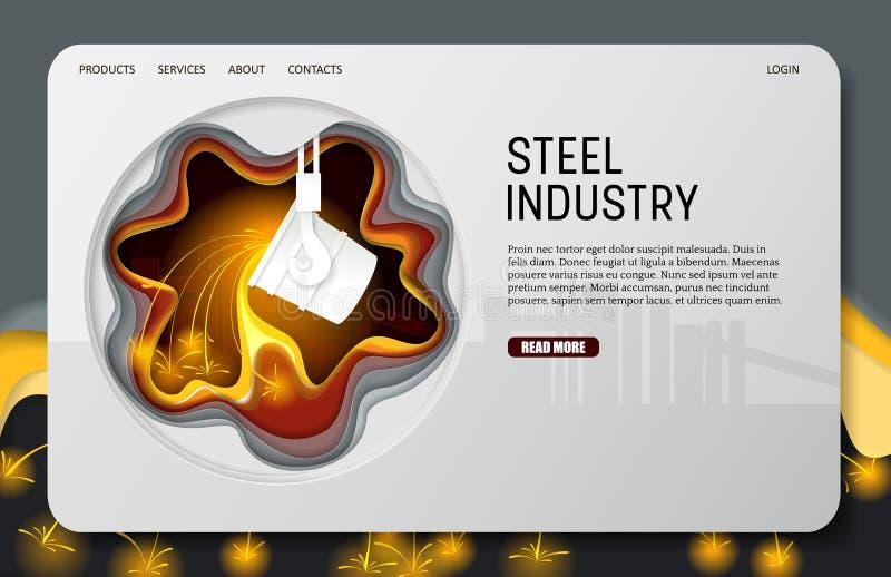 Vector paper cut steel industry landing page website template. Steel industry landing page website template. Vector paper cut ladle for melting steel. Melting vector illustration