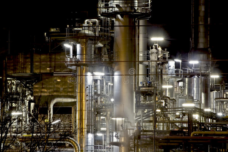Steel Industry at Night. Detail view of a Steel Industry at Night stock photo