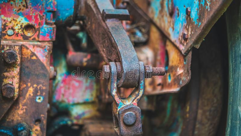 Steel Joint Hitch Pulling Car stock photo