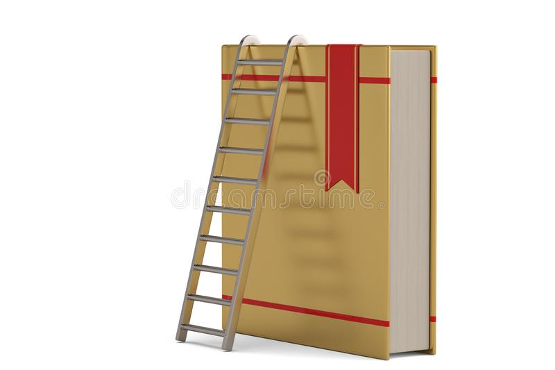 Steel ladder standing a book pile.  isolated on white background. 3D illustration. Steel ladder standing a book pile. isolated on white background. 3D royalty free illustration