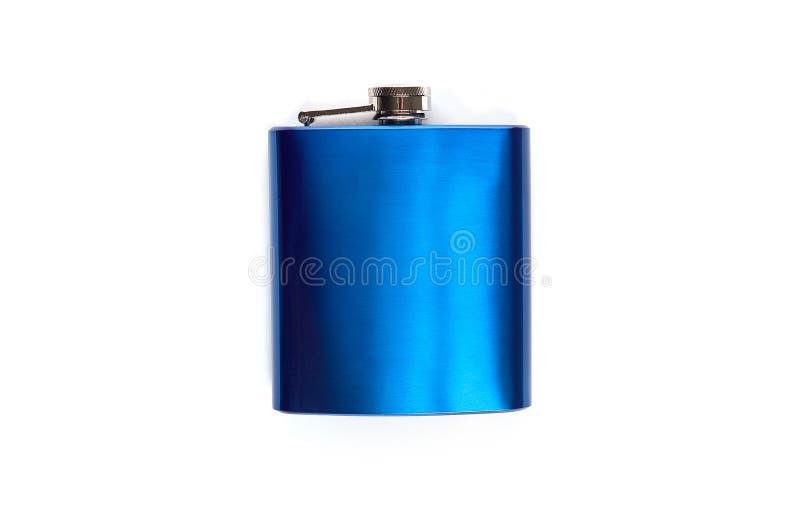 Steel Liquor flask on white isolated background stock photos