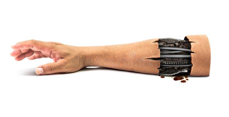 Steel mechanical inside human hand royalty free stock photo