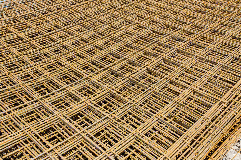 Steel mesh. Abstract image of reinforcement steel mesh for concrete slabs stock photography
