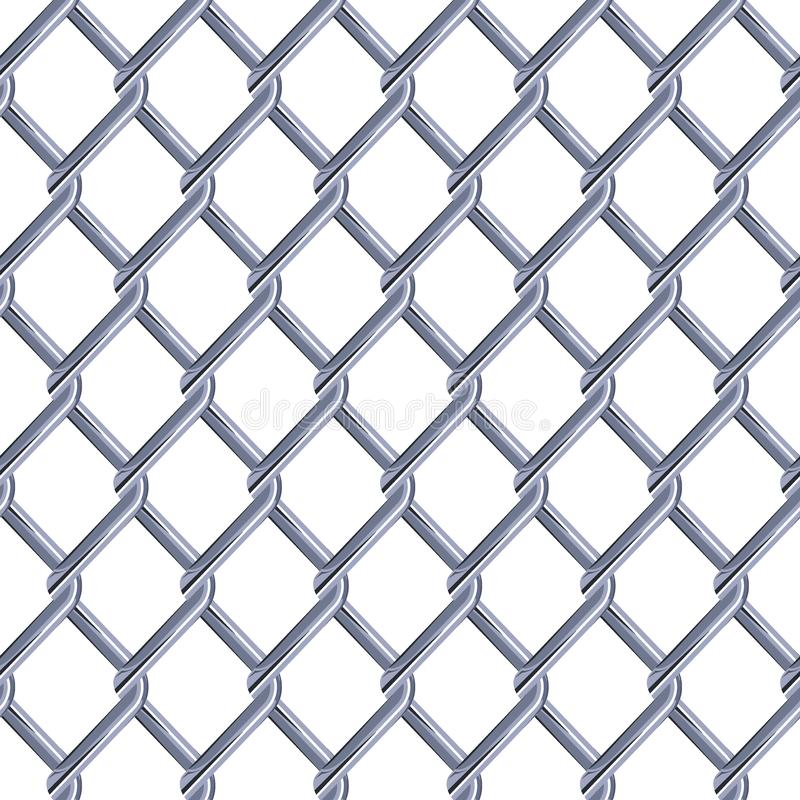 Steel mesh metal fence seamless structure. Chainlink isolated on white background. Vector illustration. EPS 10 royalty free illustration