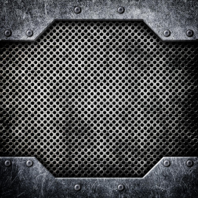 Steel mesh pattern with metal plates and rivets, 3d, illustration. Metal mesh texture bonded with rivets, hard background, 3d, illustration vector illustration