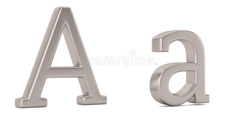 Steel metal a alphabet isolated on white background 3D illustration stock illustration