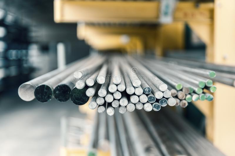 Steel metal bars on pile. Close up royalty free stock photo