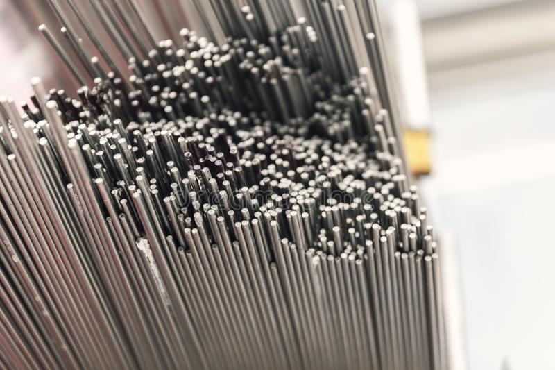 Steel metal bars on pile. Close up stock images