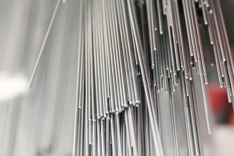 Steel metal bars on pile. Close up stock image
