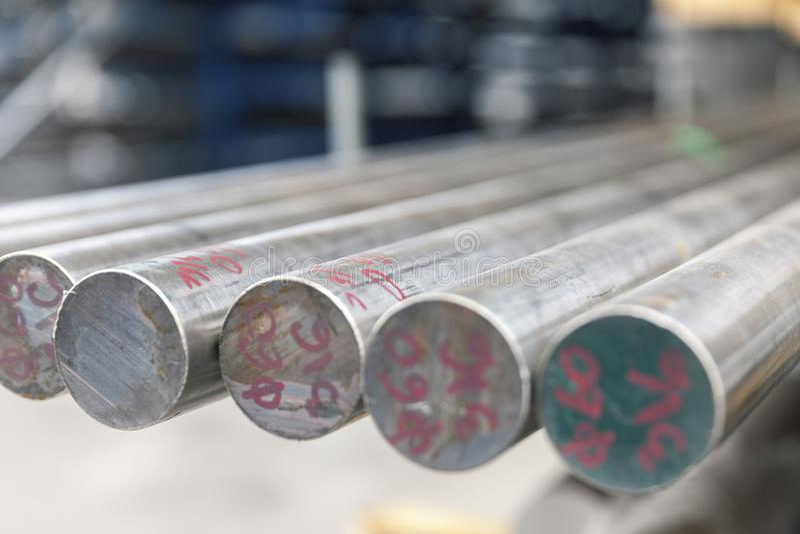 Steel metal bars on pile. Close up stock image
