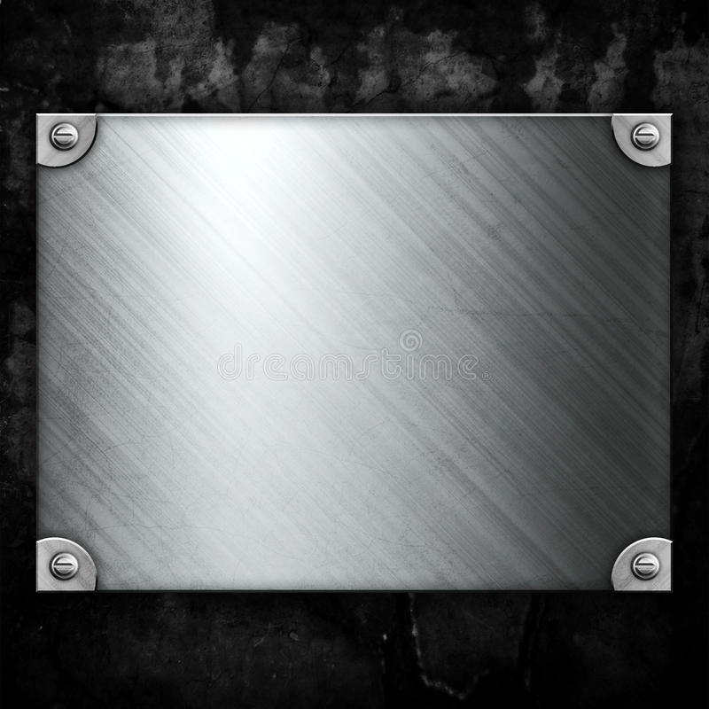 Steel metal plate on concrete wall vector illustration