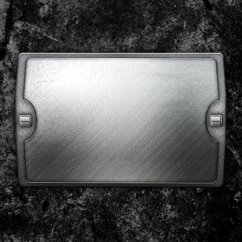 Steel metal plate on concrete wall stock illustration