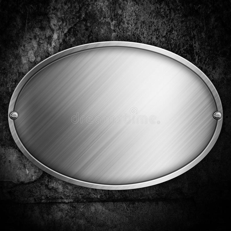Steel metal plate on concrete wall royalty free illustration