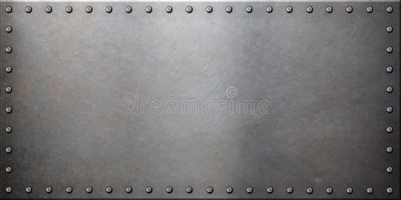 Steel metal plate with rivets. Single steel metal plate with rivets stock illustration