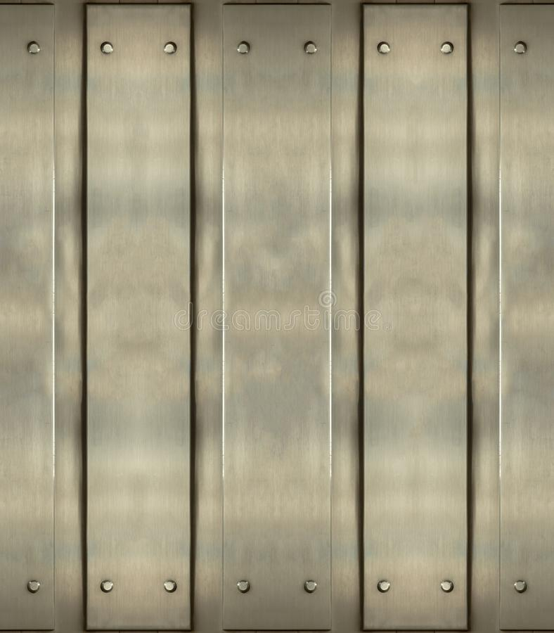 Steel metal plates with rivets, industrial background stock image