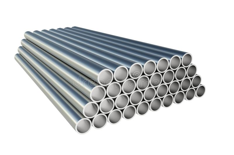 Steel metal profiles in pipe shape - industry concept vector illustration