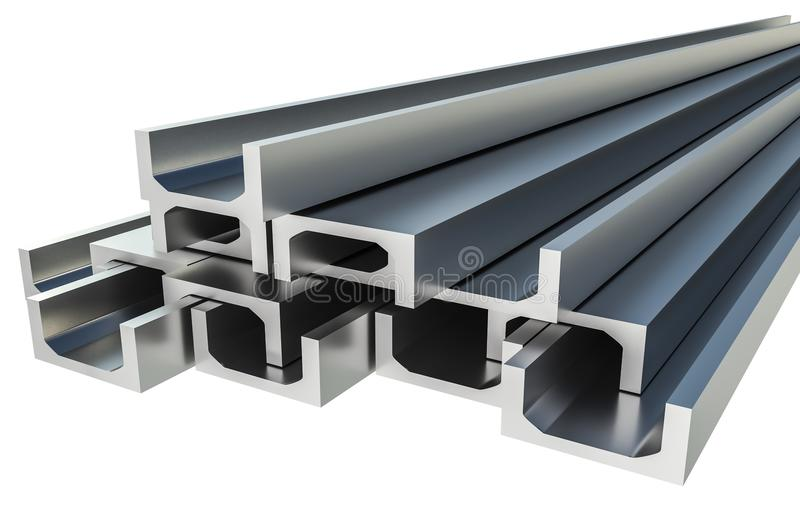 Steel metal profiles in u-bar shape isolated on white - industry concept. 3D rendered illustration vector illustration