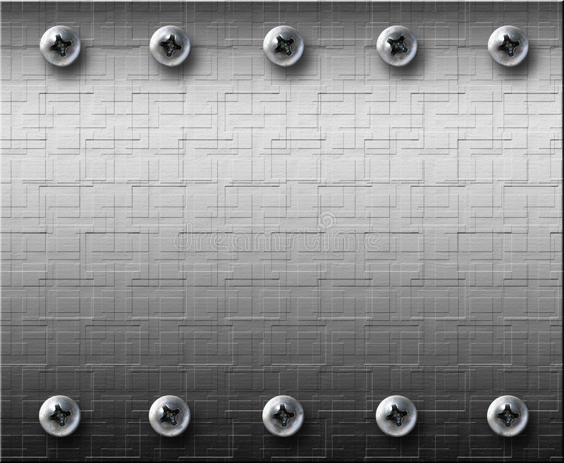 Steel metall plate with bolts stock photos