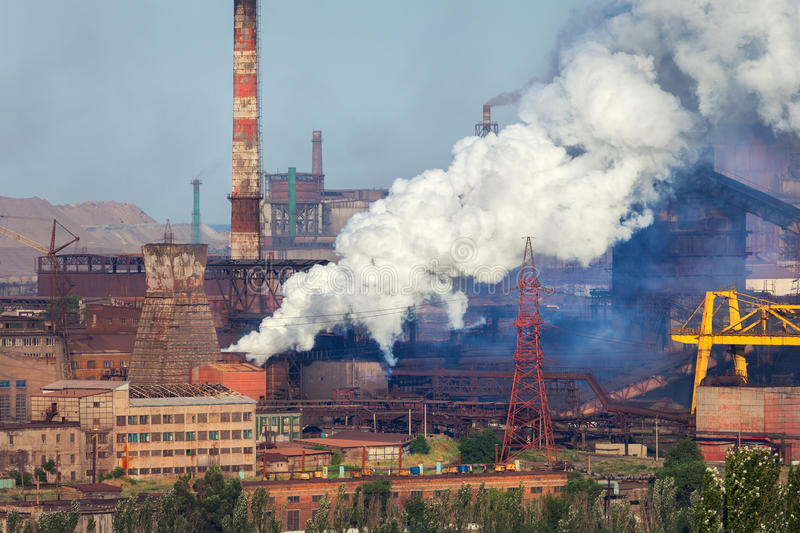 Steel mill, Metallurgy plant. Heavy industry factory stock image