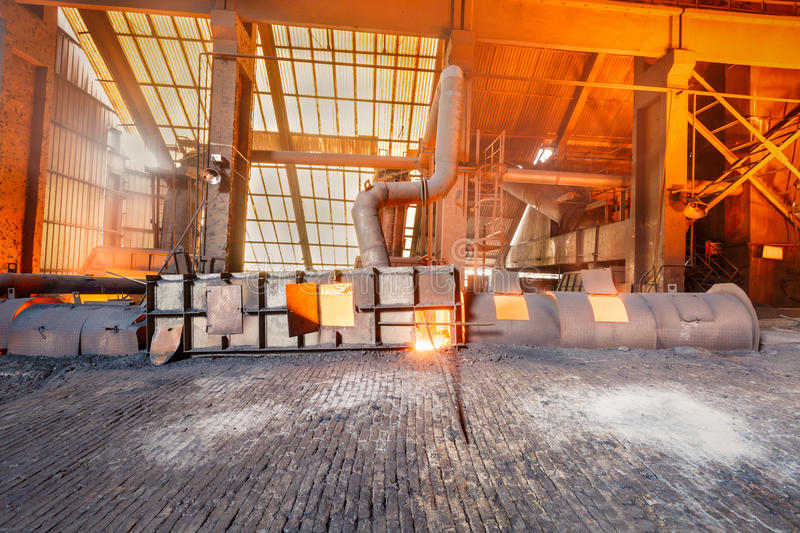 Steel mills Molten iron smelting furnace production line. Background royalty free stock photos