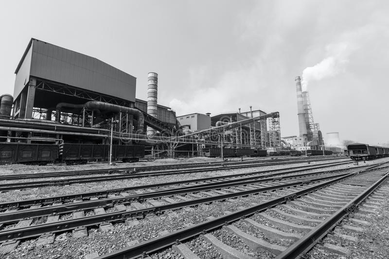 Steel mills smoke pollution. Background royalty free stock image