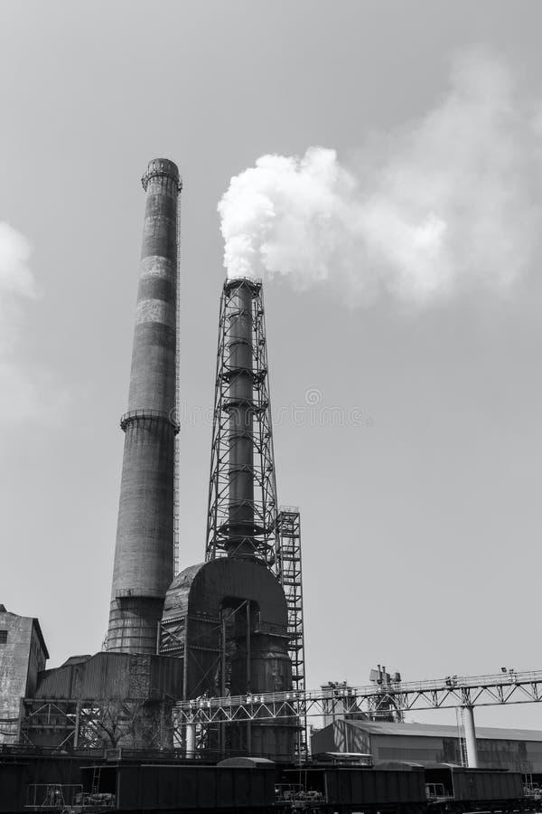 Steel mills smoke pollution. Background stock photos