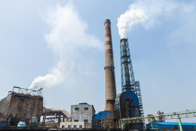 Steel mills smoke pollution. Background royalty free stock photography